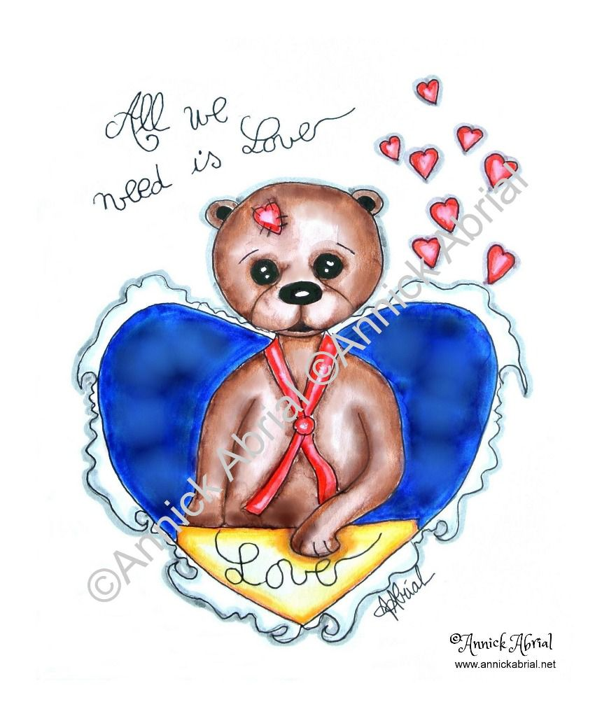 All we need is love aquarelle d'un ours sortant d'un coeur ©Annick Abrial . Cette aquarelle est imprimé sur mes coupons de tissus illustré